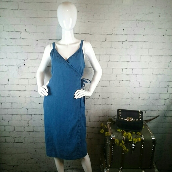 0bd6d00b628 NWT Artisan NY linen faux wrap dress w  embroidery